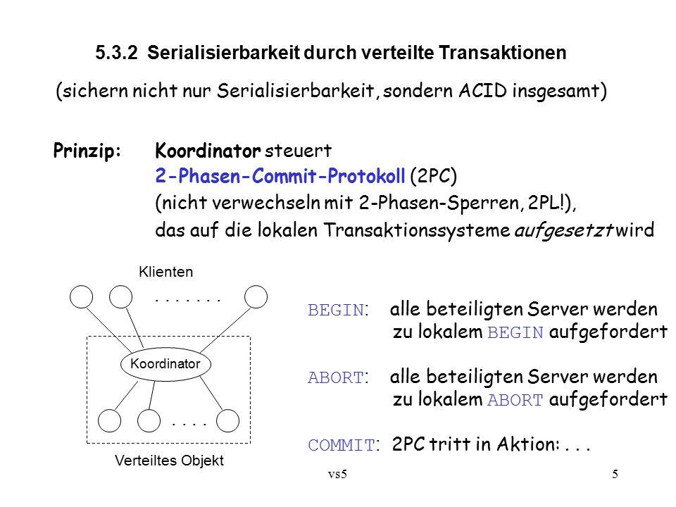 vs55 5.3.2 Serialisierbarkeit durch verteilte Transaktionen (sichern nicht nur Serialisierbarkeit, sondern ACID insgesamt) Prinzip:Koordinator steuert 2-Phasen-Commit-Protokoll (2PC) (nicht verwechseln mit 2-Phasen-Sperren, 2PL!), das auf die lokalen Transaktionssysteme aufgesetzt wird Koordinator Verteiltes Objekt.........
