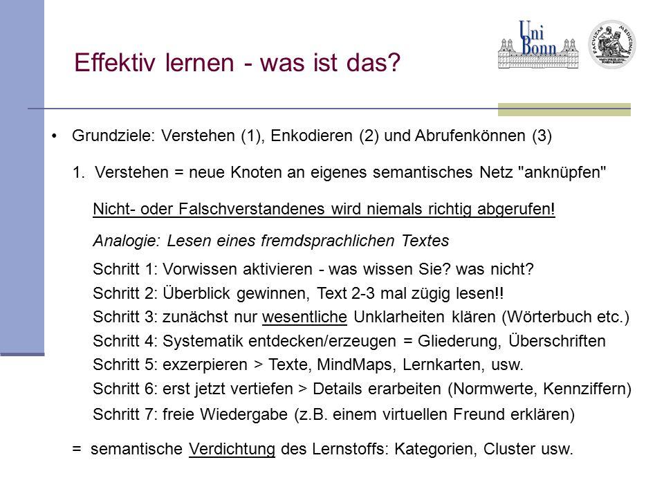 Grundziele: Verstehen (1), Enkodieren (2) und Abrufenkönnen (3) 1. Verstehen = neue Knoten an eigenes semantisches Netz