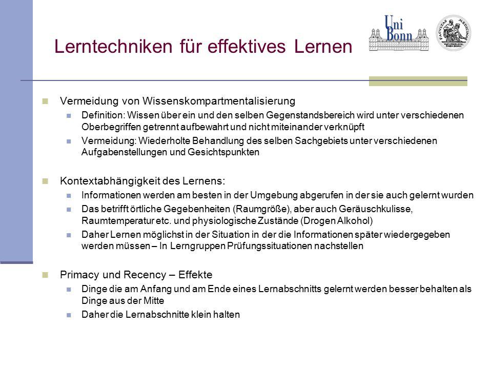 Lerntechniken für effektives Lernen Vermeidung von Wissenskompartmentalisierung Definition: Wissen über ein und den selben Gegenstandsbereich wird unt
