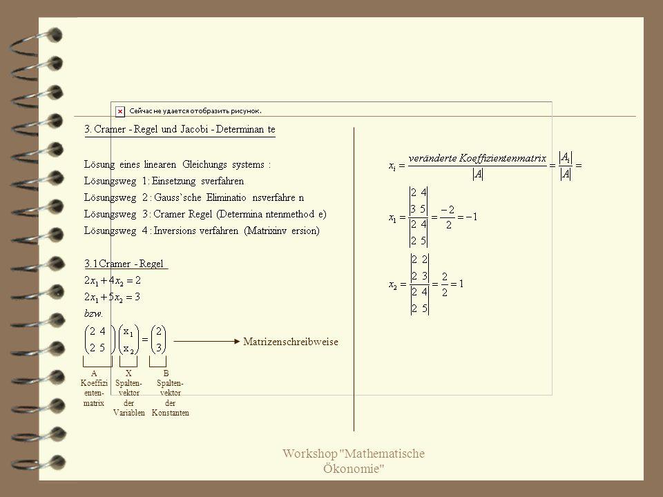 Workshop Mathematische Ökonomie A Koeffizi enten- matrix X Spalten- vektor der Variablen B Spalten- vektor der Konstanten Matrizenschreibweise