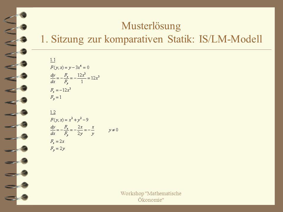 Musterlösung 1. Sitzung zur komparativen Statik: IS/LM-Modell
