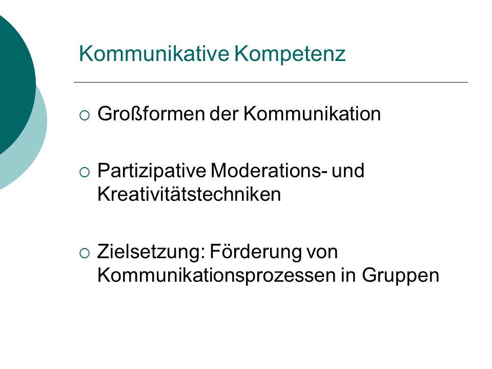 Kommunikative Kompetenz  Großformen der Kommunikation  Partizipative Moderations- und Kreativitätstechniken  Zielsetzung: Förderung von Kommunikati