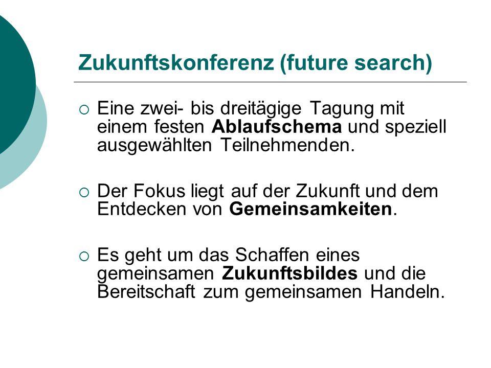 Zukunftskonferenz (future search)  Eine zwei- bis dreitägige Tagung mit einem festen Ablaufschema und speziell ausgewählten Teilnehmenden.  Der Foku