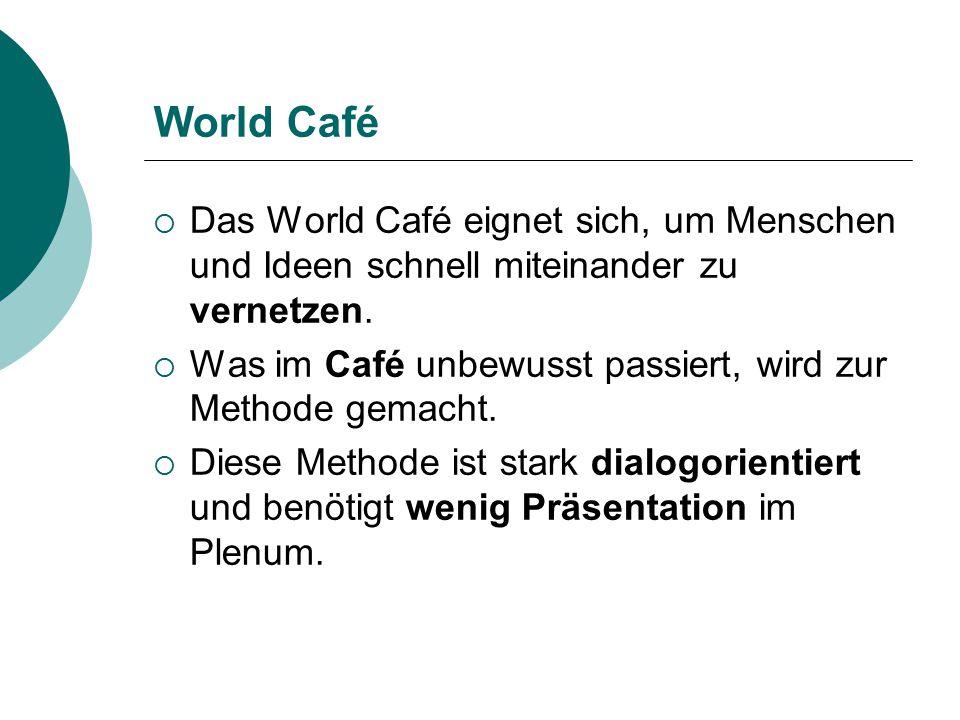 World Café  Das World Café eignet sich, um Menschen und Ideen schnell miteinander zu vernetzen.  Was im Café unbewusst passiert, wird zur Methode ge
