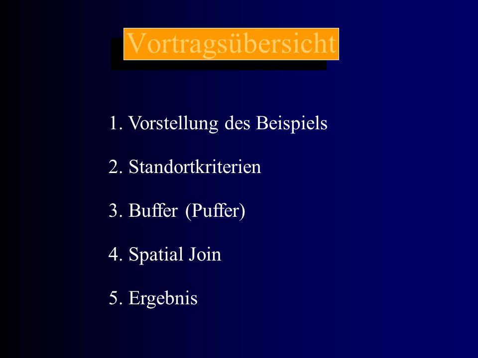 Vortragsübersicht 1. Vorstellung des Beispiels 2. Standortkriterien 3. Buffer (Puffer) 5. Ergebnis 4. Spatial Join