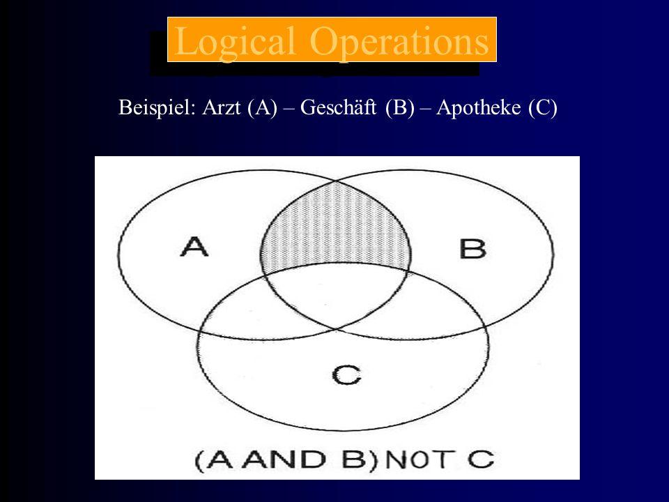 Beispiel: Arzt (A) – Geschäft (B) – Apotheke (C) Logical Operations