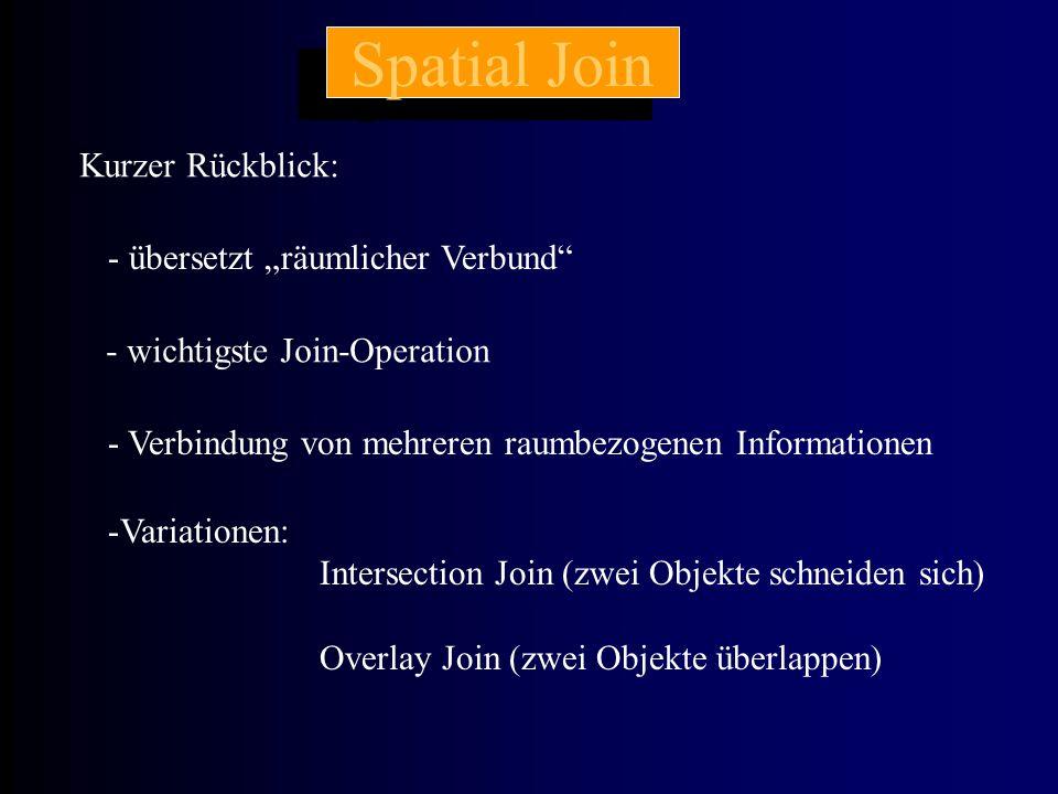 """Spatial Join Kurzer Rückblick: - übersetzt """"räumlicher Verbund - wichtigste Join-Operation - Verbindung von mehreren raumbezogenen Informationen -Variationen: Intersection Join (zwei Objekte schneiden sich) Overlay Join (zwei Objekte überlappen)"""