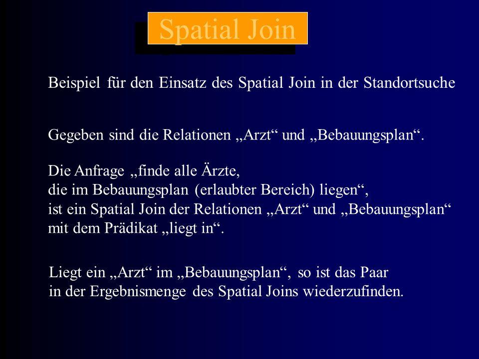 """Spatial Join Beispiel für den Einsatz des Spatial Join in der Standortsuche Gegeben sind die Relationen """"Arzt"""" und """"Bebauungsplan"""". Die Anfrage """"finde"""