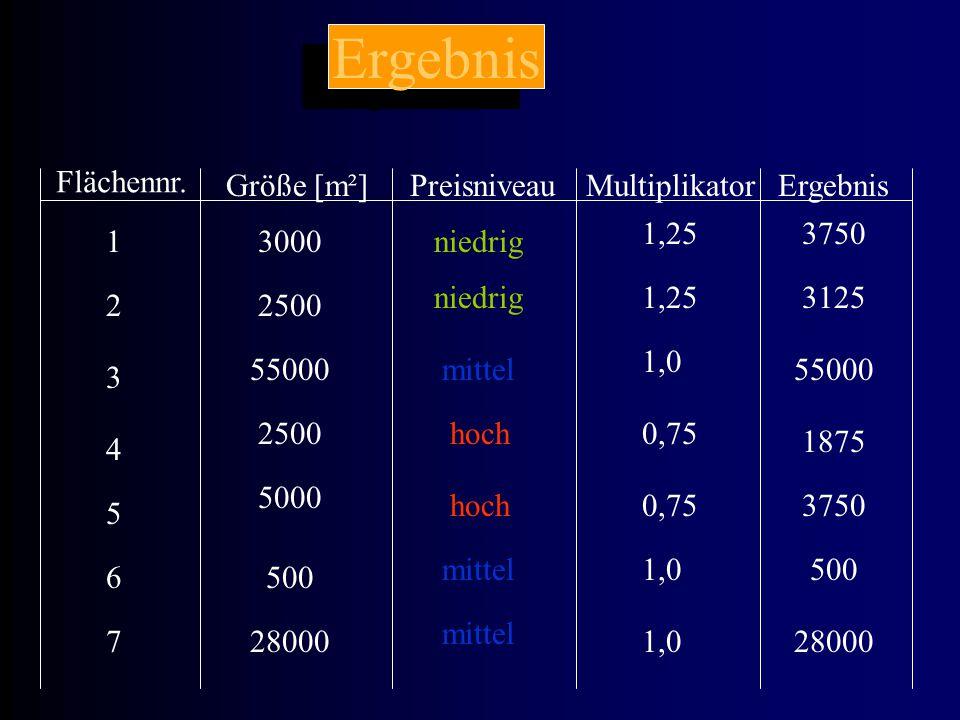 Ergebnis Flächennr. Größe [m²]PreisniveauMultiplikatorErgebnis 1 2 3 4 5 6 7 niedrig mittel hoch 1,25 1,0 0,75 1,0 3000 2500 55000 2500 5000 500 28000