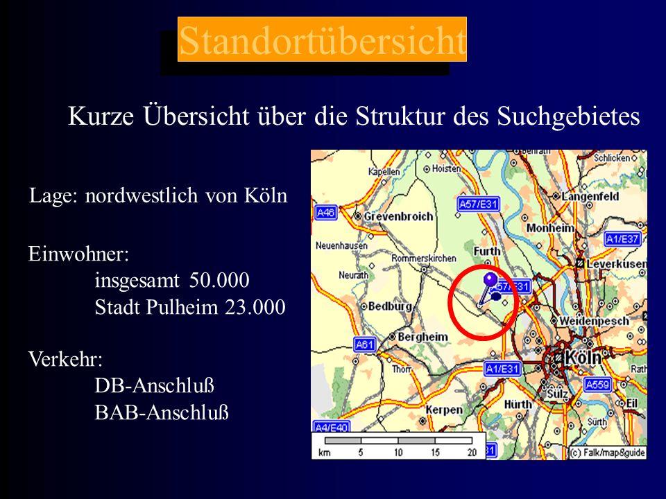 Standortübersicht Kurze Übersicht über die Struktur des Suchgebietes Lage: nordwestlich von Köln Einwohner: insgesamt 50.000 Stadt Pulheim 23.000 Verkehr: DB-Anschluß BAB-Anschluß