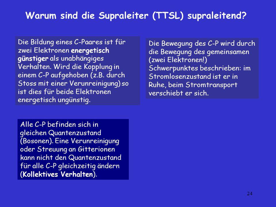 24 Warum sind die Supraleiter (TTSL) supraleitend? Die Bewegung des C-P wird durch die Bewegung des gemeinsamen (zwei Elektronen!) Schwerpunktes besch