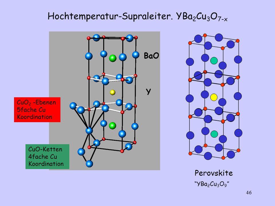"46 CuO 2 -Ebenen 5fache Cu Koordination CuO-Ketten 4fache Cu Koordination Hochtemperatur-Supraleiter. YBa 2 Cu 3 O 7-x BaO Y Perovskite ""YBa 2 Cu 3 O"