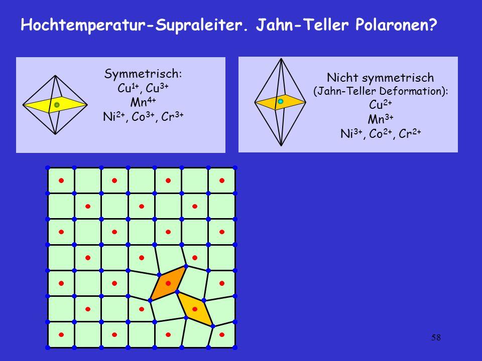 58 Symmetrisch: Cu 1+, Cu 3+ Mn 4+ Ni 2+, Co 3+, Cr 3+ Nicht symmetrisch (Jahn-Teller Deformation): Cu 2+ Mn 3+ Ni 3+, Co 2+, Cr 2+ Hochtemperatur-Sup