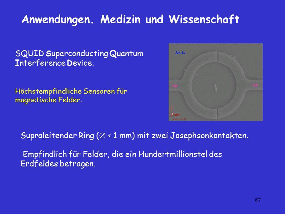 67 SQUID Superconducting Quantum Interference Device. Höchstempfindliche Sensoren für magnetische Felder. Anwendungen. Medizin und Wissenschaft Supral