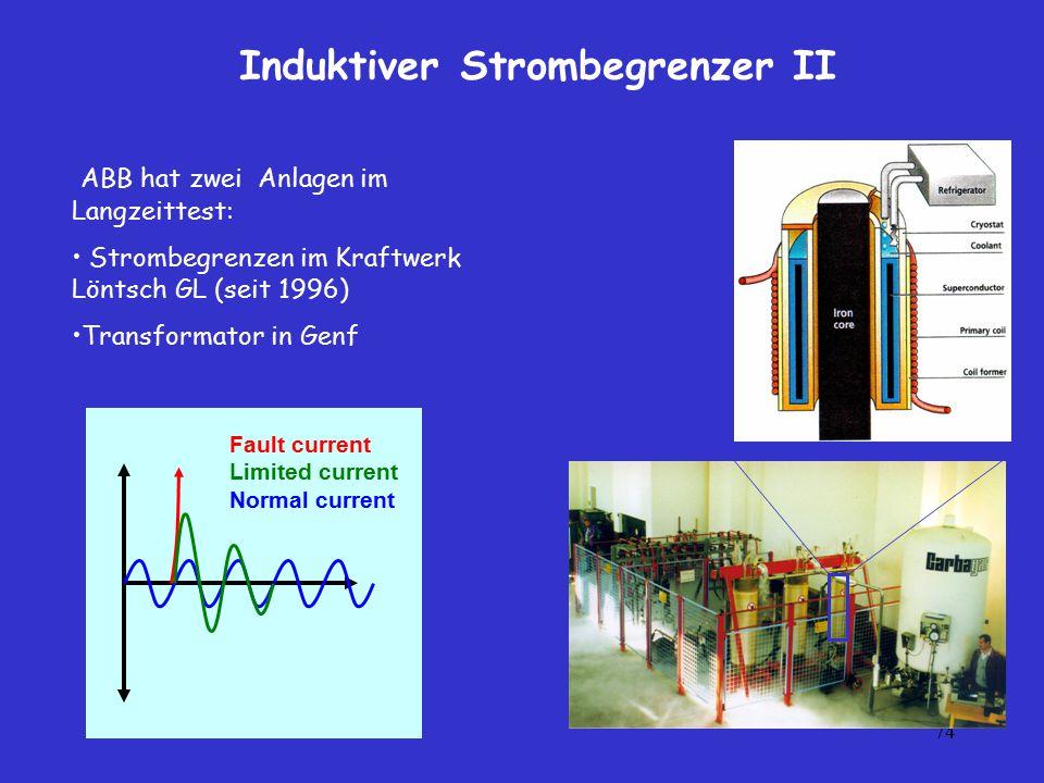 74 Induktiver Strombegrenzer II Fault current Limited current Normal current ABB hat zwei Anlagen im Langzeittest: Strombegrenzen im Kraftwerk Löntsch