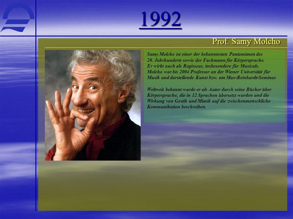 1992 Prof. Samy Molcho Samy Molcho ist einer der bekanntesten Pantomimen des 20. Jahrhunderts sowie der Fachmann für Körpersprache. Er wirkt auch als