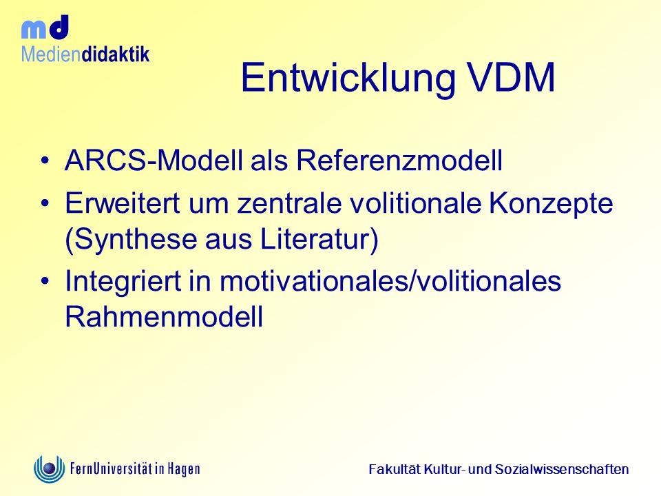 Medien didaktik d m Fakultät Kultur- und Sozialwissenschaften Entwicklung VDM ARCS-Modell als Referenzmodell Erweitert um zentrale volitionale Konzept