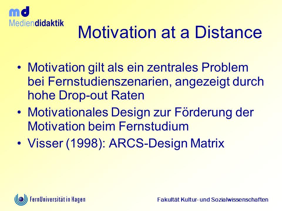 Medien didaktik d m Fakultät Kultur- und Sozialwissenschaften Motivation at a Distance Motivation gilt als ein zentrales Problem bei Fernstudienszenar