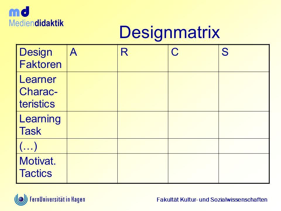 Medien didaktik d m Fakultät Kultur- und Sozialwissenschaften Designmatrix Design Faktoren ARCS Learner Charac- teristics Learning Task (…) Motivat. T