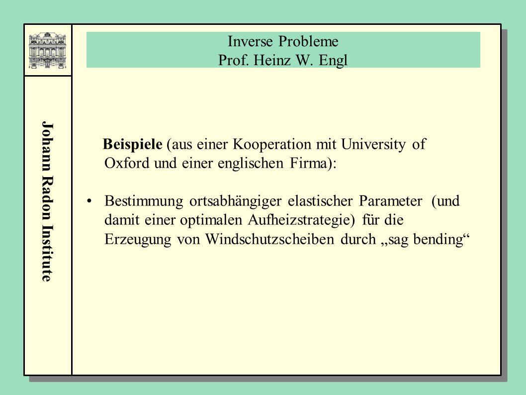Johann Radon Institute Inverse Probleme Prof. Heinz W. Engl Beispiele (aus einer Kooperation mit University of Oxford und einer englischen Firma): Bes