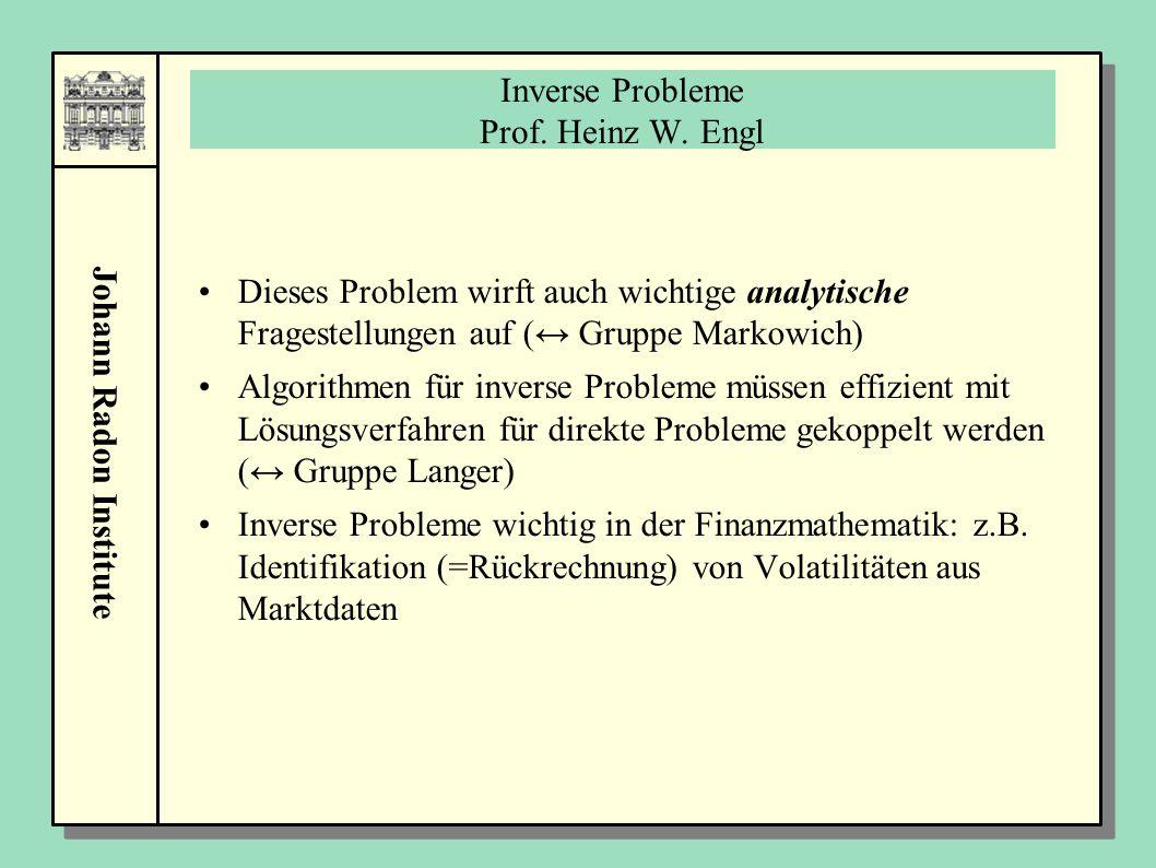 Johann Radon Institute Inverse Probleme Prof. Heinz W. Engl Dieses Problem wirft auch wichtige analytische Fragestellungen auf (↔ Gruppe Markowich) Al