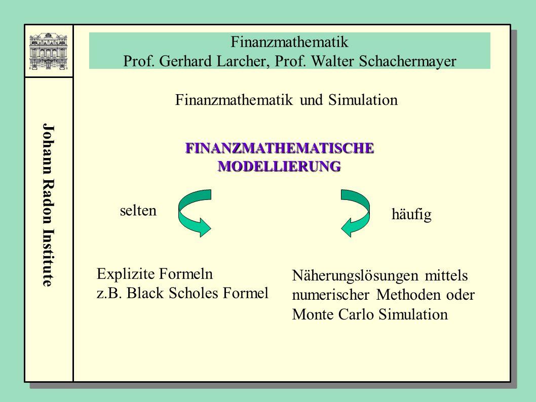 Johann Radon Institute Finanzmathematik Prof. Gerhard Larcher, Prof. Walter Schachermayer Finanzmathematik und Simulation FINANZMATHEMATISCHE MODELLIE
