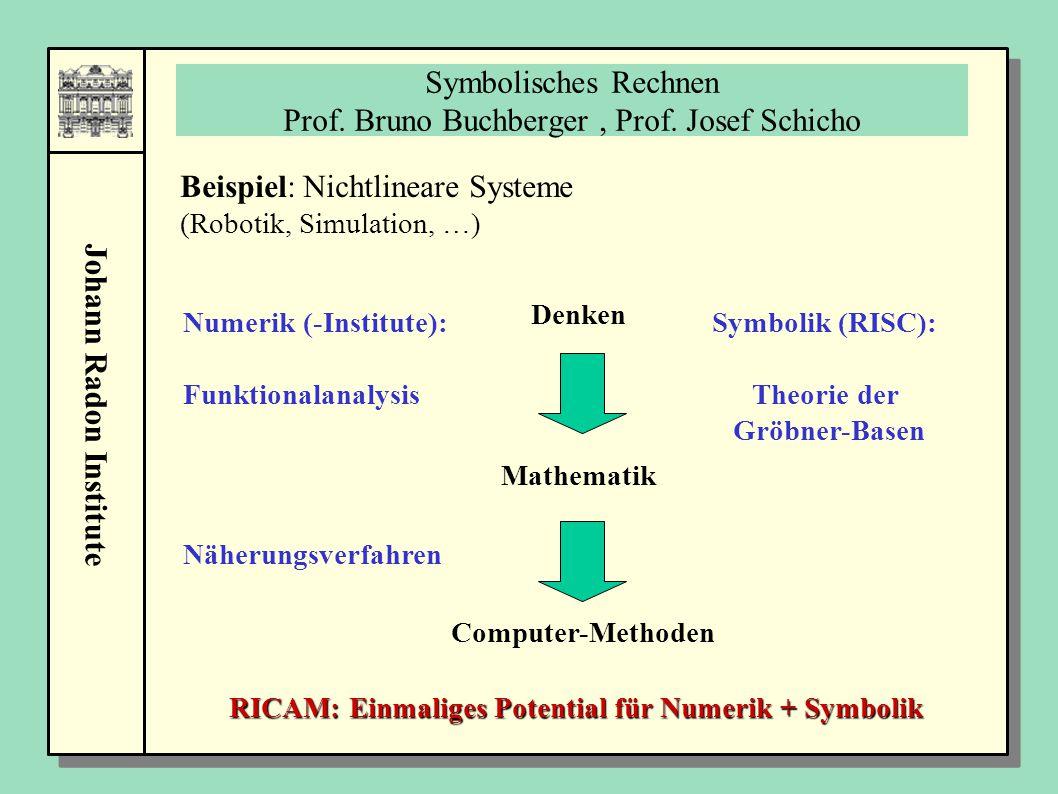 Johann Radon Institute Symbolisches Rechnen Prof. Bruno Buchberger, Prof. Josef Schicho Denken Mathematik Computer-Methoden Beispiel: Nichtlineare Sys
