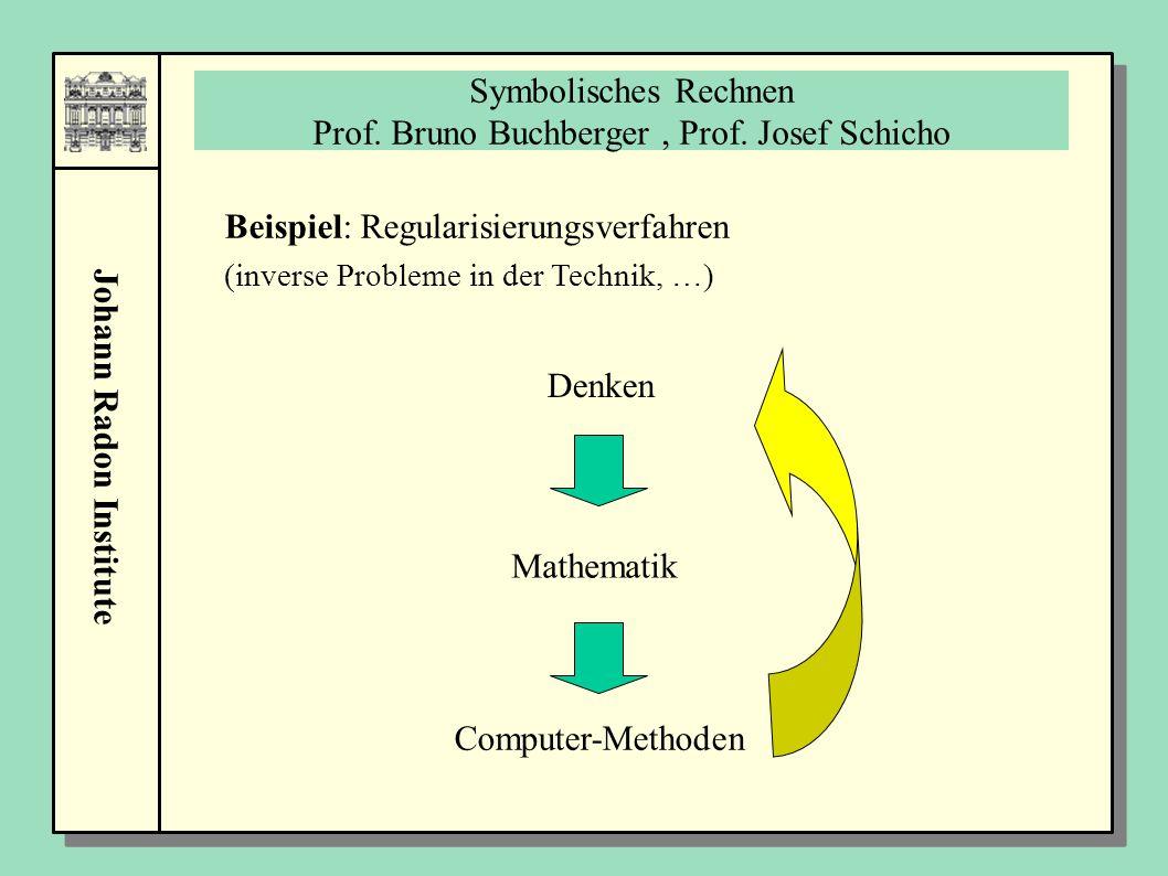 Johann Radon Institute Symbolisches Rechnen Prof. Bruno Buchberger, Prof. Josef Schicho Denken Mathematik Computer-Methoden Beispiel: Regularisierungs