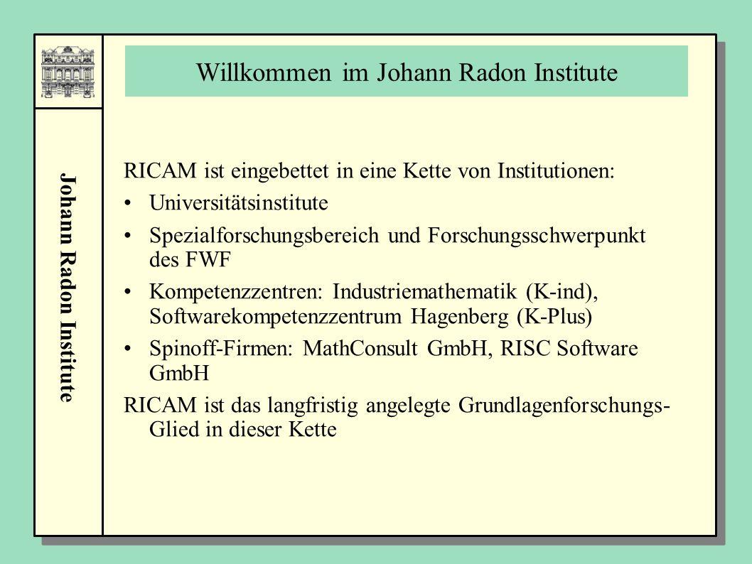 Johann Radon Institute Willkommen im Johann Radon Institute RICAM ist eingebettet in eine Kette von Institutionen: Universitätsinstitute Spezialforschungsbereich und Forschungsschwerpunkt des FWF Kompetenzzentren: Industriemathematik (K-ind), Softwarekompetenzzentrum Hagenberg (K-Plus) Spinoff-Firmen: MathConsult GmbH, RISC Software GmbH RICAM ist das langfristig angelegte Grundlagenforschungs- Glied in dieser Kette