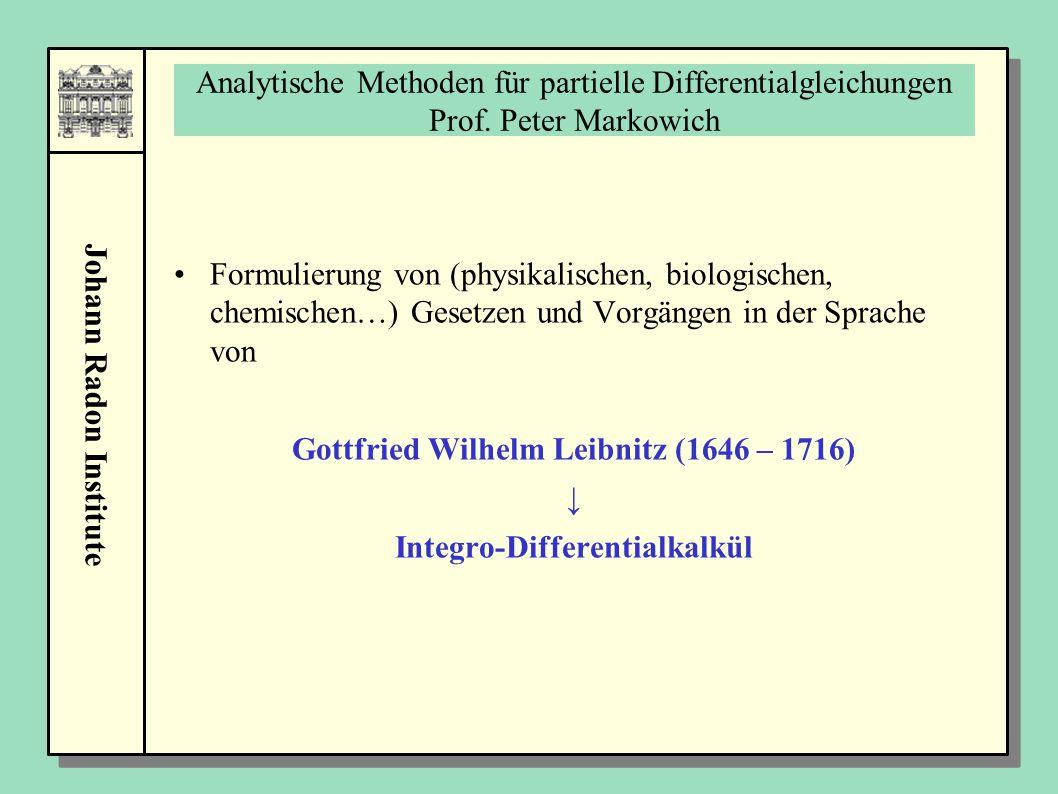 Johann Radon Institute Analytische Methoden für partielle Differentialgleichungen Prof. Peter Markowich Formulierung von (physikalischen, biologischen