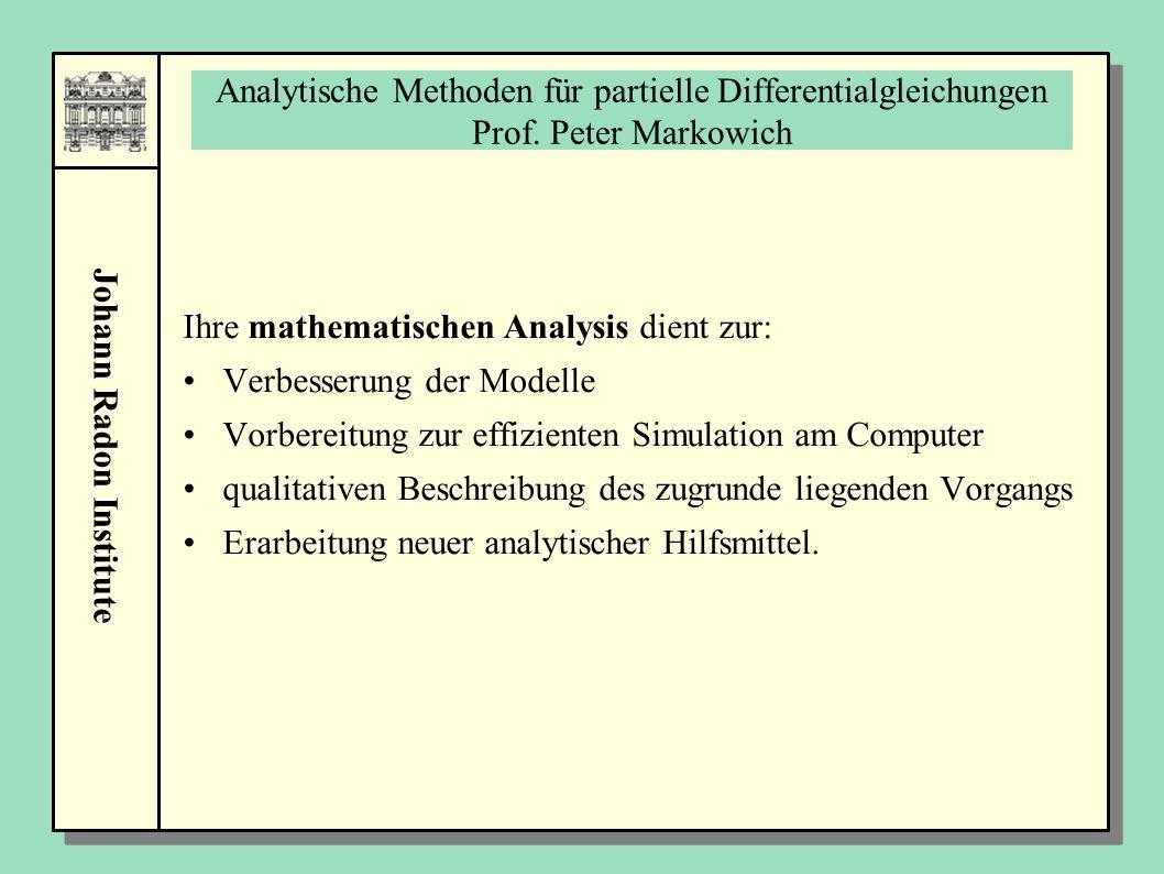 Johann Radon Institute Analytische Methoden für partielle Differentialgleichungen Prof. Peter Markowich Ihre mathematischen Analysis dient zur: Verbes