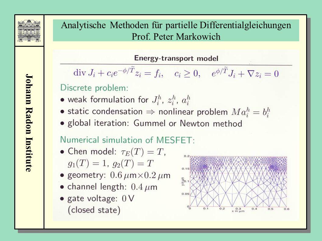 Johann Radon Institute Analytische Methoden für partielle Differentialgleichungen Prof. Peter Markowich