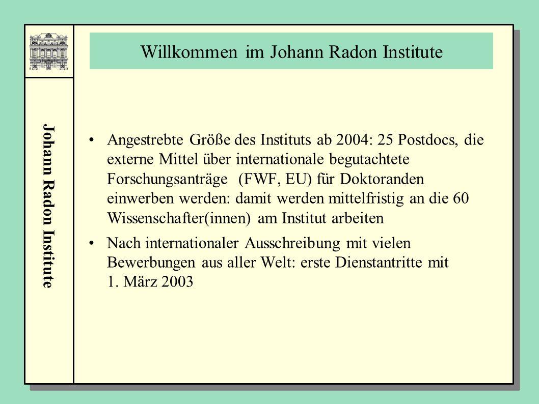 Johann Radon Institute Willkommen im Johann Radon Institute Angestrebte Größe des Instituts ab 2004: 25 Postdocs, die externe Mittel über internationa