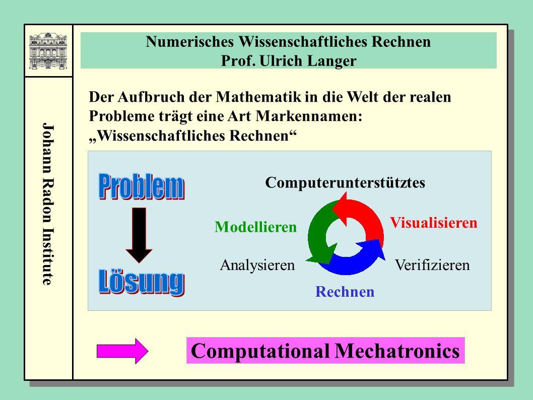 Johann Radon Institute Numerisches Wissenschaftliches Rechnen Prof. Ulrich Langer Computerunterstütztes Modellieren Analysieren Rechnen Verifizieren V
