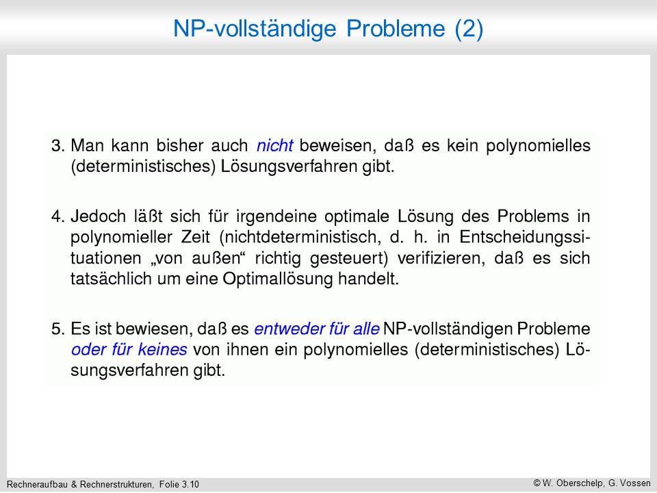 Rechneraufbau & Rechnerstrukturen, Folie 3.10 © W. Oberschelp, G. Vossen NP-vollständige Probleme (2)