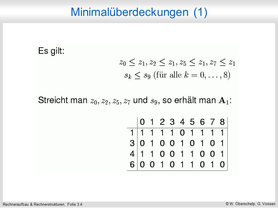 Rechneraufbau & Rechnerstrukturen, Folie 3.4 © W. Oberschelp, G. Vossen Minimalüberdeckungen (1)