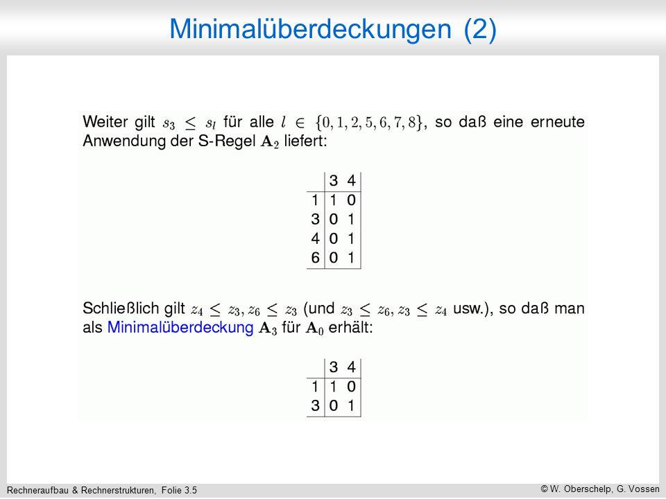 Rechneraufbau & Rechnerstrukturen, Folie 3.5 © W. Oberschelp, G. Vossen Minimalüberdeckungen (2)