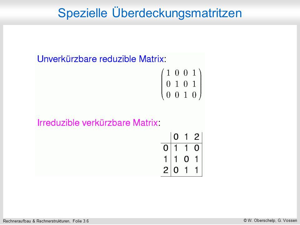 Rechneraufbau & Rechnerstrukturen, Folie 3.6 © W. Oberschelp, G. Vossen Spezielle Überdeckungsmatritzen