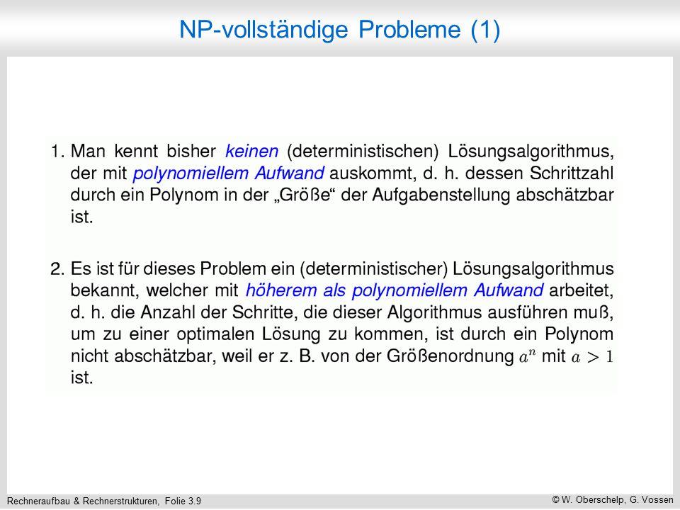Rechneraufbau & Rechnerstrukturen, Folie 3.9 © W. Oberschelp, G. Vossen NP-vollständige Probleme (1)
