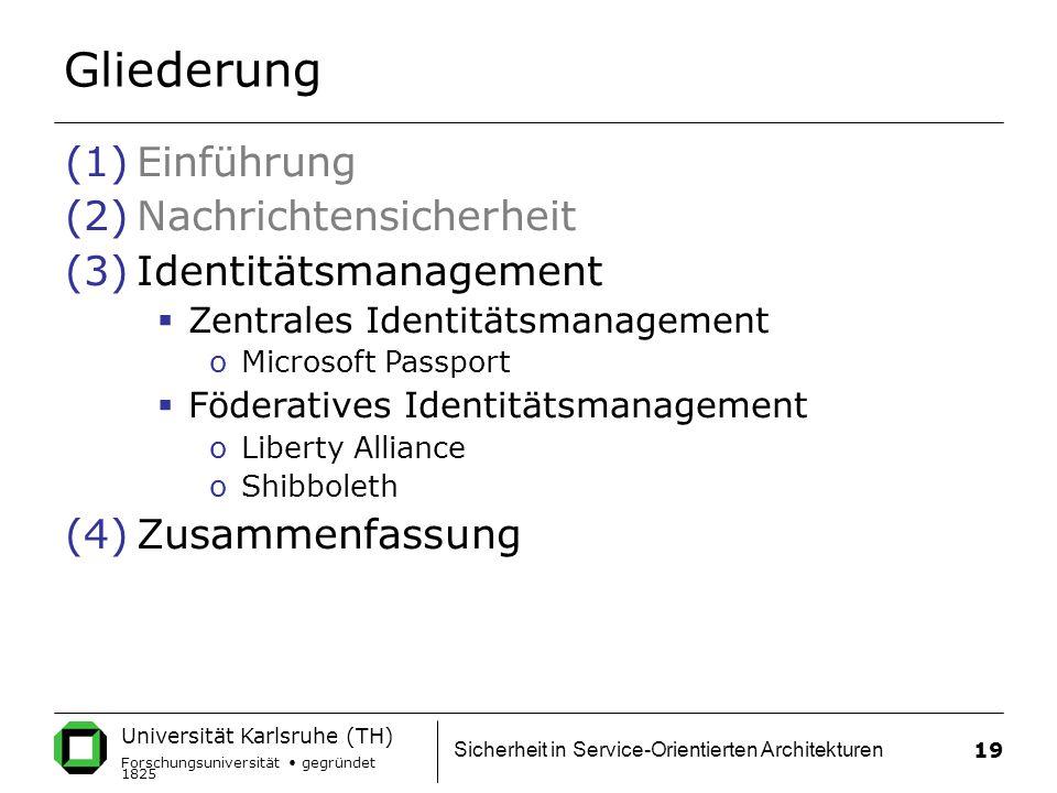 Universität Karlsruhe (TH) Forschungsuniversität gegründet 1825 Sicherheit in Service-Orientierten Architekturen 19 Gliederung (1)Einführung (2)Nachrichtensicherheit (3)Identitätsmanagement  Zentrales Identitätsmanagement oMicrosoft Passport  Föderatives Identitätsmanagement oLiberty Alliance oShibboleth (4)Zusammenfassung
