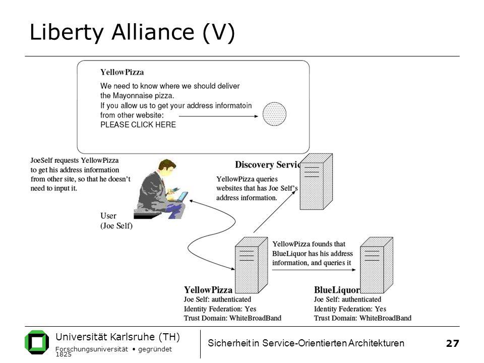 Universität Karlsruhe (TH) Forschungsuniversität gegründet 1825 Sicherheit in Service-Orientierten Architekturen 27 Liberty Alliance (V)