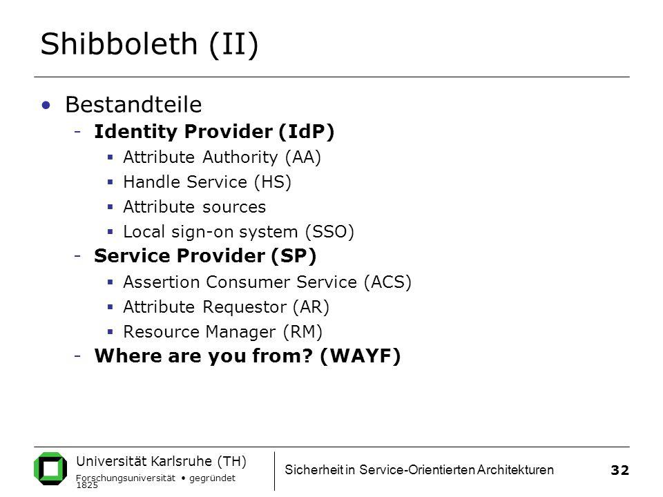 Universität Karlsruhe (TH) Forschungsuniversität gegründet 1825 Sicherheit in Service-Orientierten Architekturen 32 Shibboleth (II) Bestandteile -Identity Provider (IdP)  Attribute Authority (AA)  Handle Service (HS)  Attribute sources  Local sign-on system (SSO) -Service Provider (SP)  Assertion Consumer Service (ACS)  Attribute Requestor (AR)  Resource Manager (RM) -Where are you from.