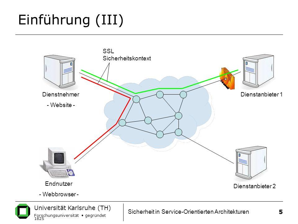 Universität Karlsruhe (TH) Forschungsuniversität gegründet 1825 Sicherheit in Service-Orientierten Architekturen 5 Einführung (III) Dienstnehmer - Website - Dienstanbieter 1 Dienstanbieter 2 Endnutzer - Webbrowser - SSL Sicherheitskontext