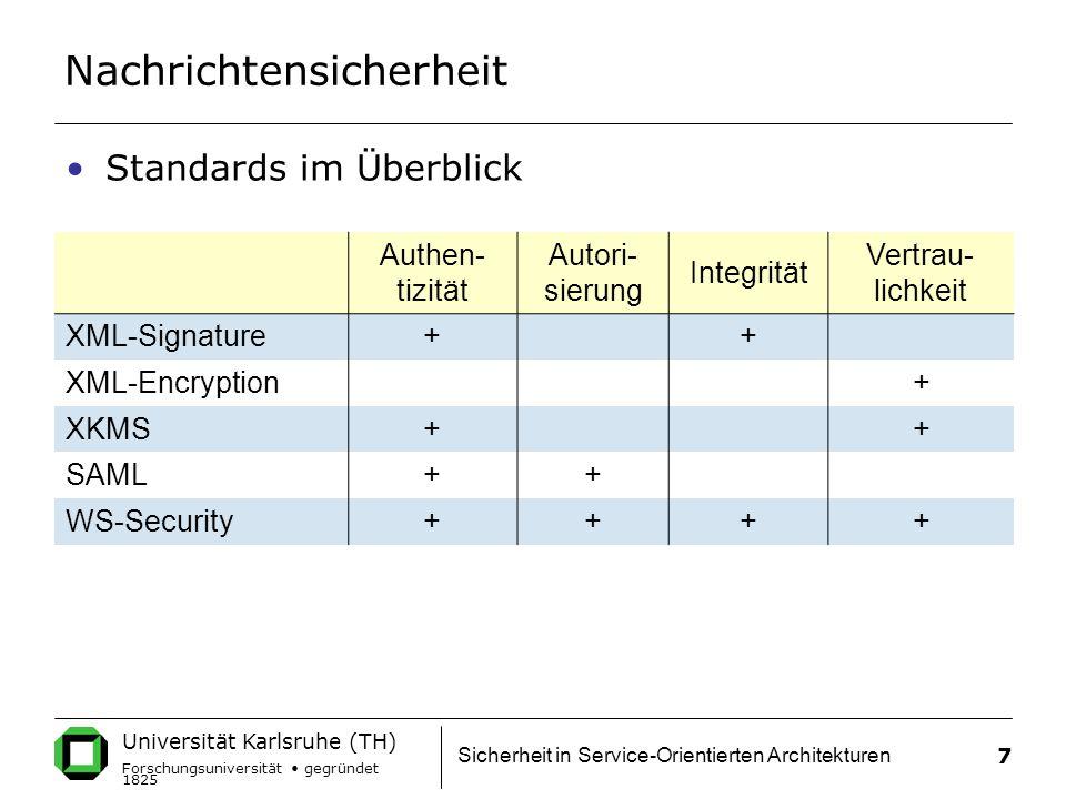 Universität Karlsruhe (TH) Forschungsuniversität gegründet 1825 Sicherheit in Service-Orientierten Architekturen 7 Nachrichtensicherheit Authen- tizität Autori- sierung Integrität Vertrau- lichkeit XML-Signature+ + XML-Encryption + XKMS+ + SAML++ WS-Security++++ Standards im Überblick