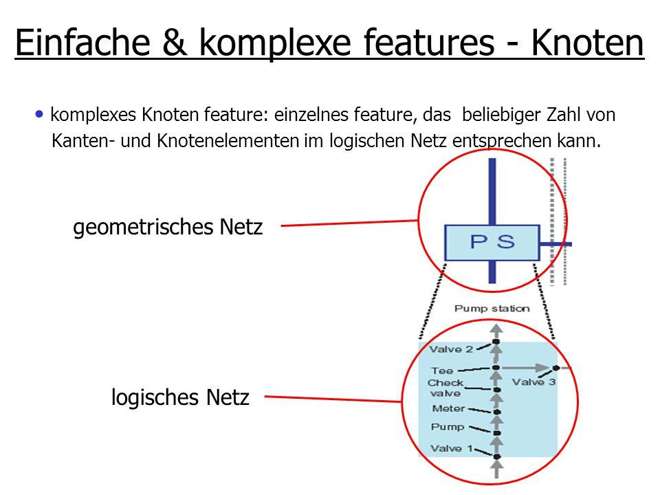 komplexes Knoten feature: einzelnes feature, das beliebiger Zahl von Kanten- und Knotenelementen im logischen Netz entsprechen kann. Einfache & komple