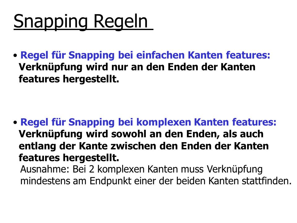 Regel für Snapping bei einfachen Kanten features: Verknüpfung wird nur an den Enden der Kanten features hergestellt. Snapping Regeln Regel für Snappin