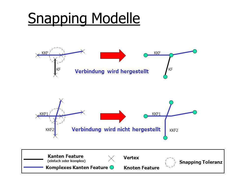 Snapping Modelle Kanten Feature (einfach oder komplex) Komplexes Kanten Feature Vertex Knoten Feature Snapping Toleranz KKF1 KKF2 KF KKF KF KKF KKF1 K