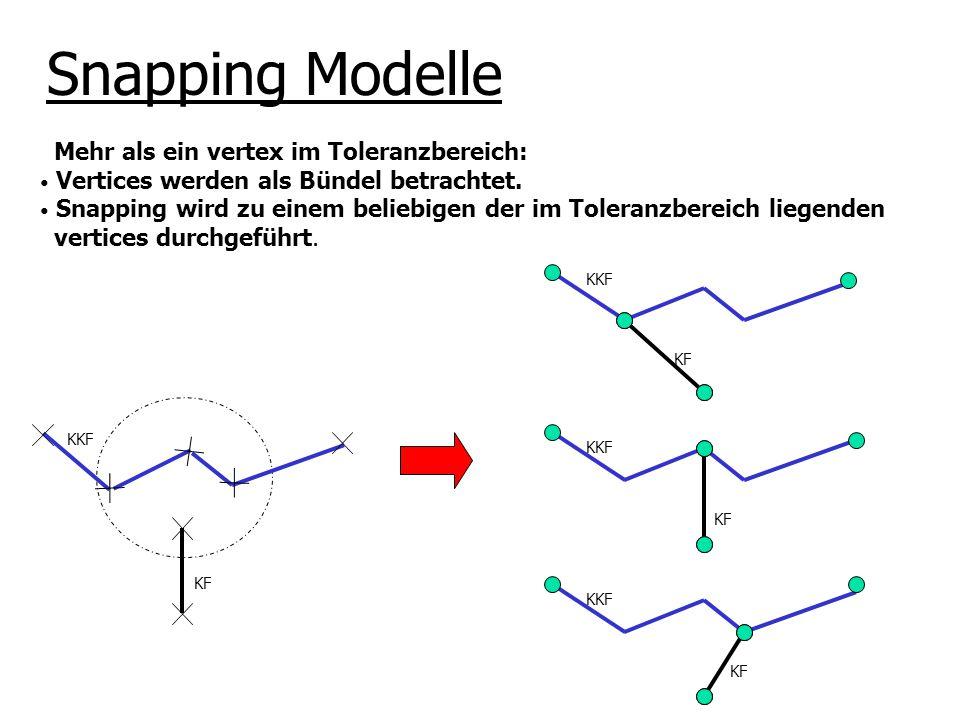 KKF KF KKF KF KKF KF Mehr als ein vertex im Toleranzbereich: Vertices werden als Bündel betrachtet. Snapping wird zu einem beliebigen der im Toleranzb
