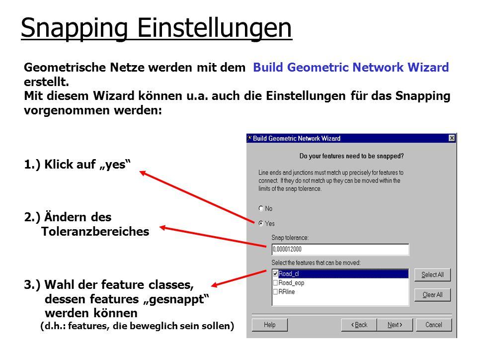 Snapping Einstellungen Geometrische Netze werden mit dem Build Geometric Network Wizard erstellt. Mit diesem Wizard können u.a. auch die Einstellungen