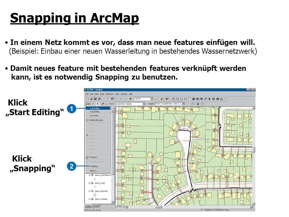 Snapping in ArcMap In einem Netz kommt es vor, dass man neue features einfügen will. (Beispiel: Einbau einer neuen Wasserleitung in bestehendes Wasser